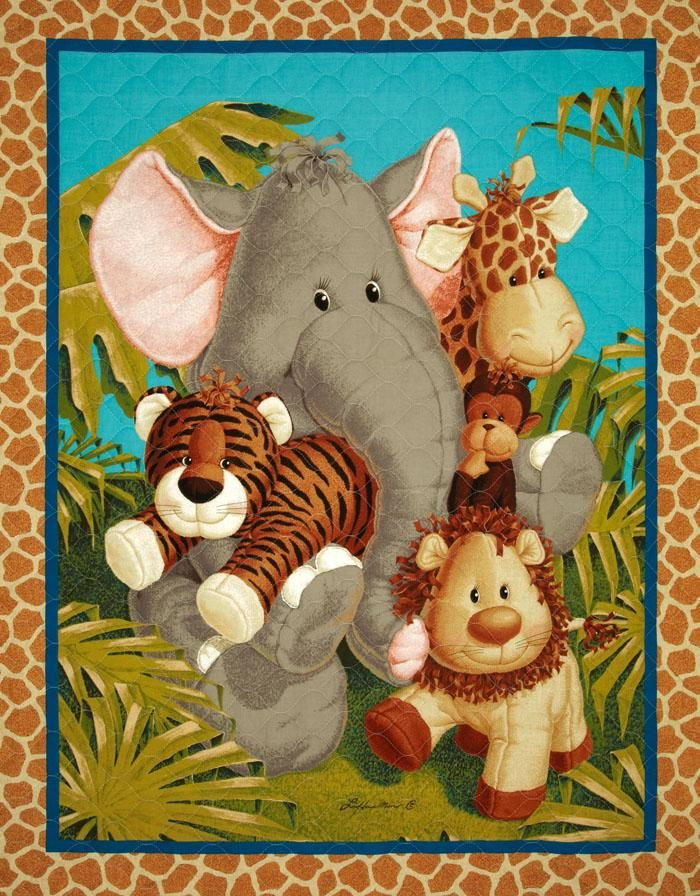 Jungle Babies Double Sided Quilted Panel Multi From