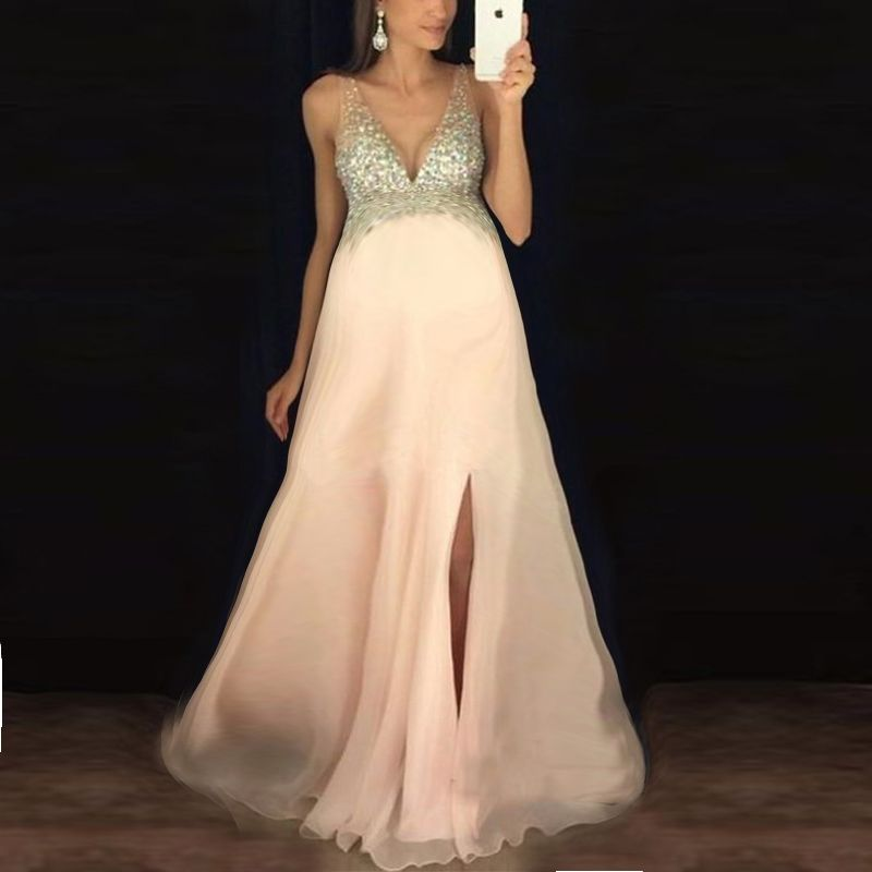 19eadf734bf Maternity Sequin V-Neck Sleeveless Maxi Dress – lukalula