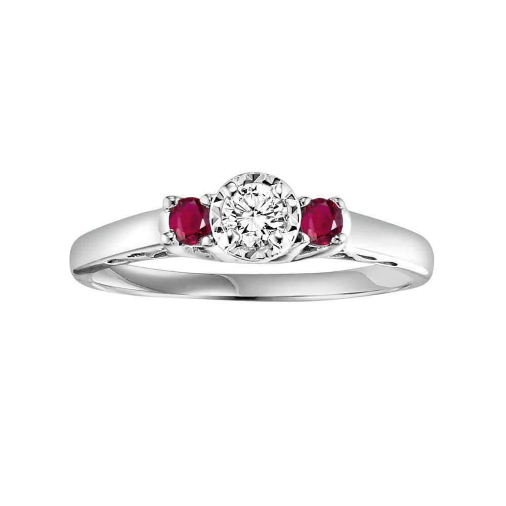 Lovemark round cut diamond and ruby engagement ring in k white