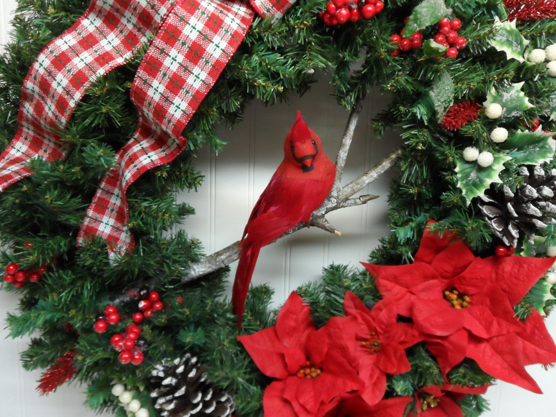 Red Bird Christmas Wreath Cardinal Wreath Holiday Wreath Front Door Xmas Wreath Pine Cones Red White Berries R Christmas Wreaths Xmas Wreaths Christmas