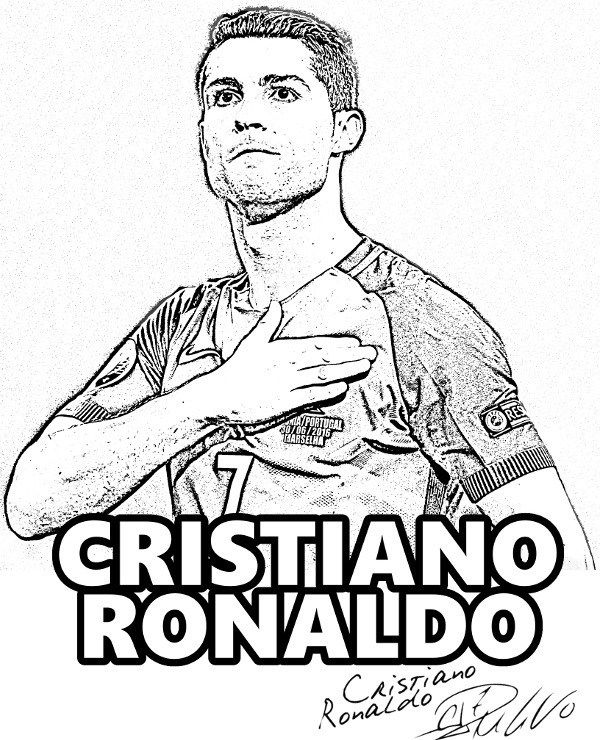 Free Coloring Page Cristiano Ronaldo Portugal Real Madrid