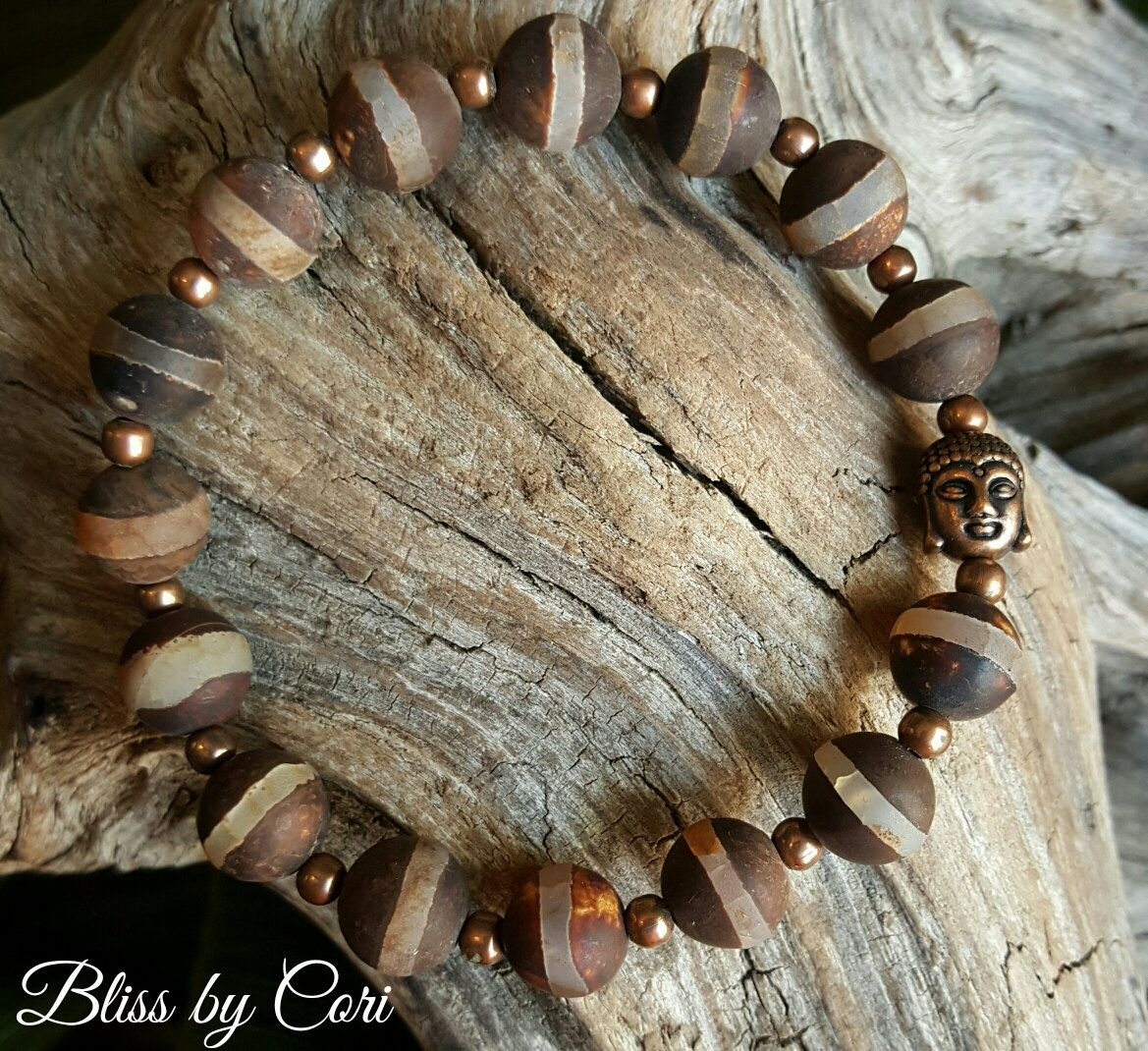 "Tibetan Agate ""Buddha"" Stretch Bracelet - Reiki, Energy, Spiritual, Yoga, Meditation, Boho *FREE SHIPPING*  by BlissbyCori on Etsy $30.00"