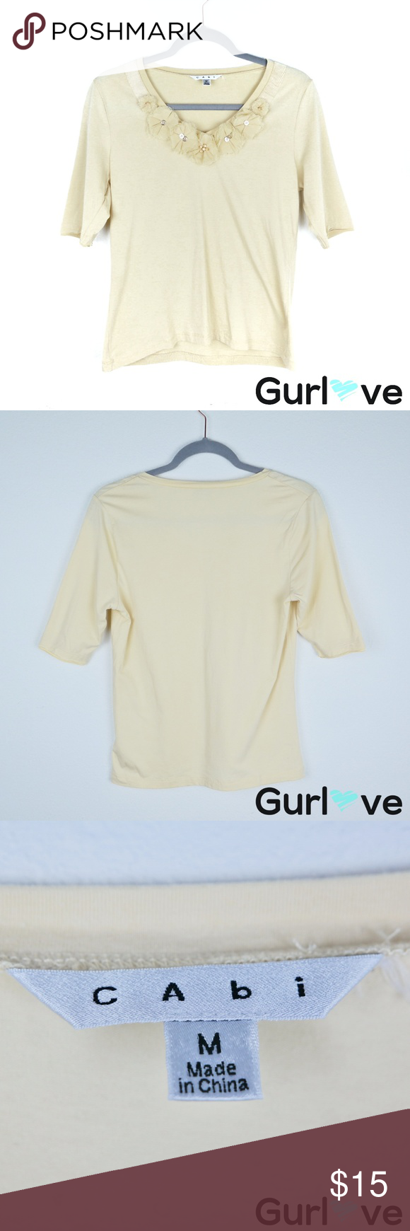 CAbi Yellow Neck Embellishment Blouse Size M Brand: CAbi  Size: M  Condition: Gently Used, It has a little stain shows in pics  Approximate Measurements (taken flat):  Sleeve length from shoulder seam-13
