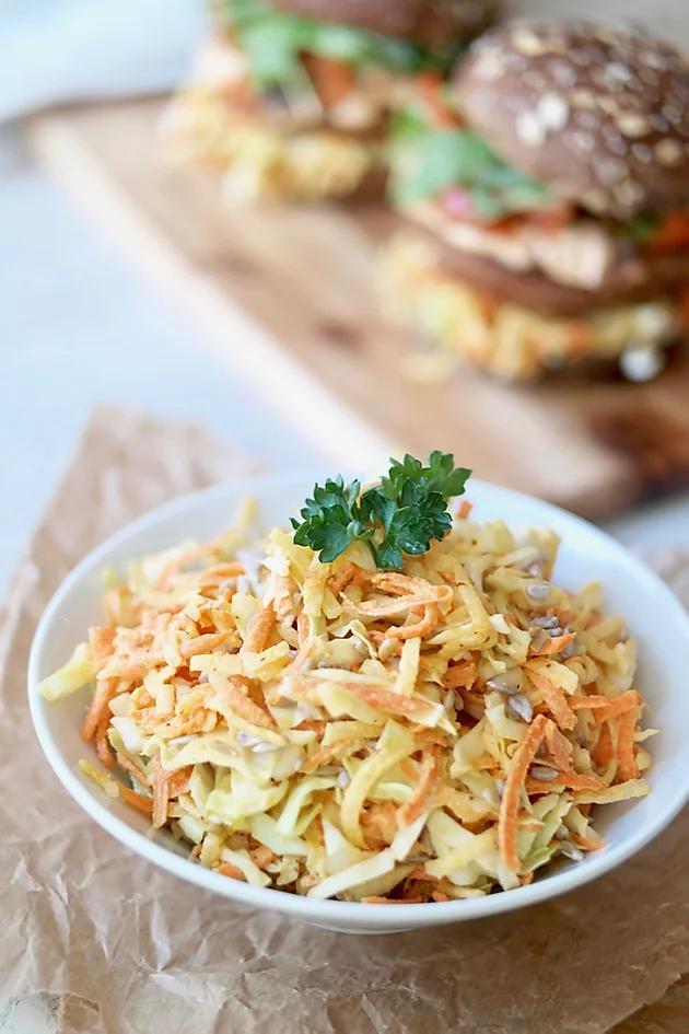 creamy coleslaw with tahini dijon dressing in 2020  creamy coleslaw healthy eating habits