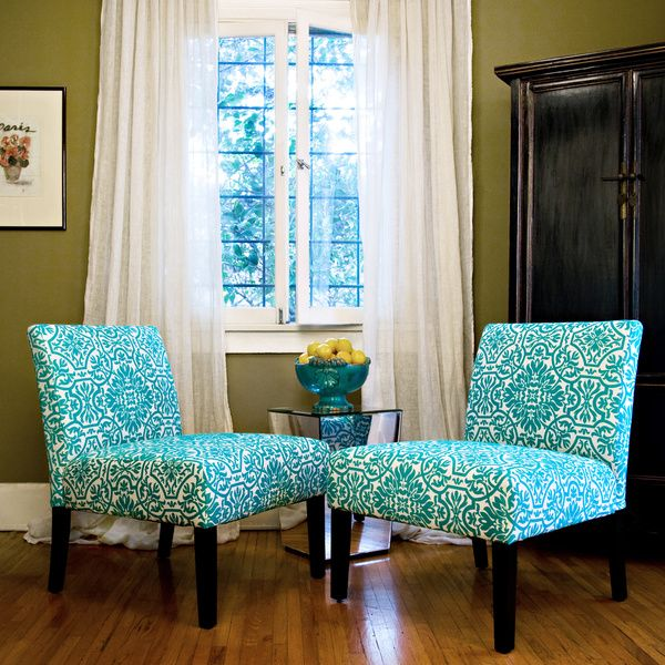 Lovely The Bradstreet Chairs Are Covered In A Turquoise Blue And White Classic  Damask Fabric.