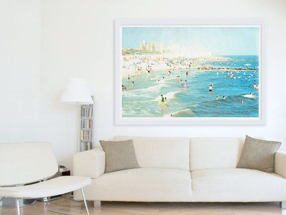 Large Scale Print Living Room Decor Oversized Beach Photography Navy Blue Light Wall Art Peeps Dips