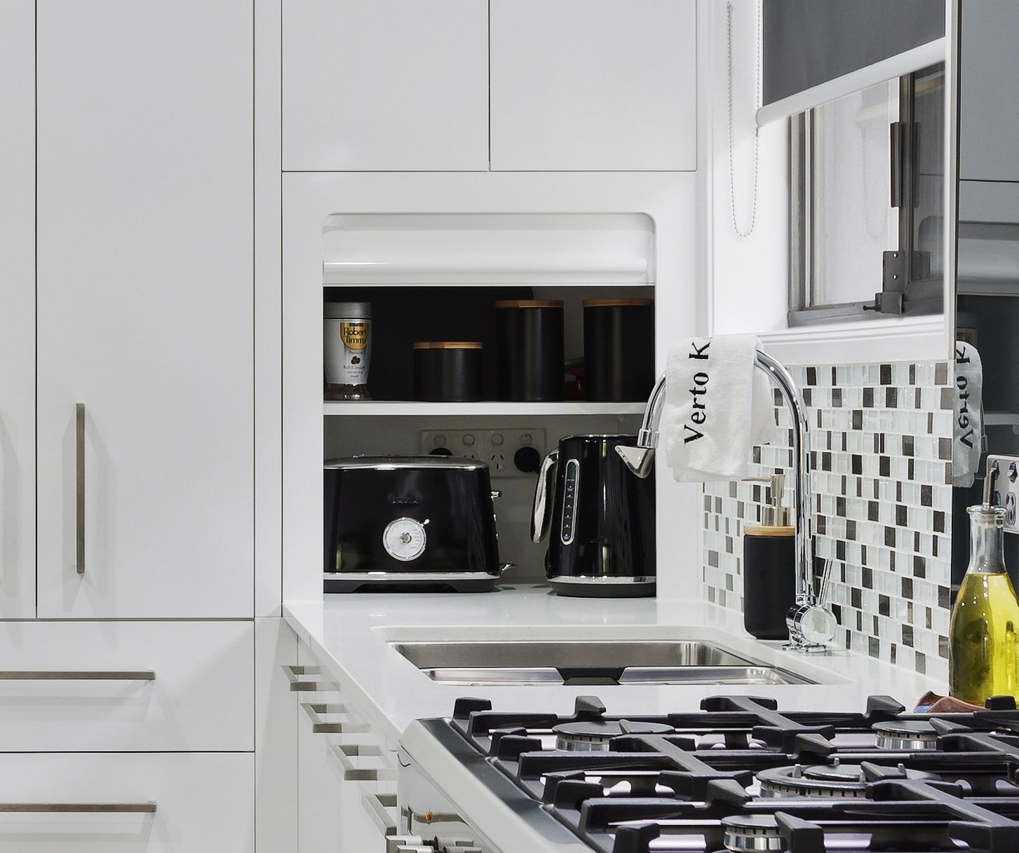 Great Appliance Cupboard With Roller Door To Hide All Those Appliances And Keep Your Benchtop Clear Hide Appliances Roller Doors Kitchen Renovation