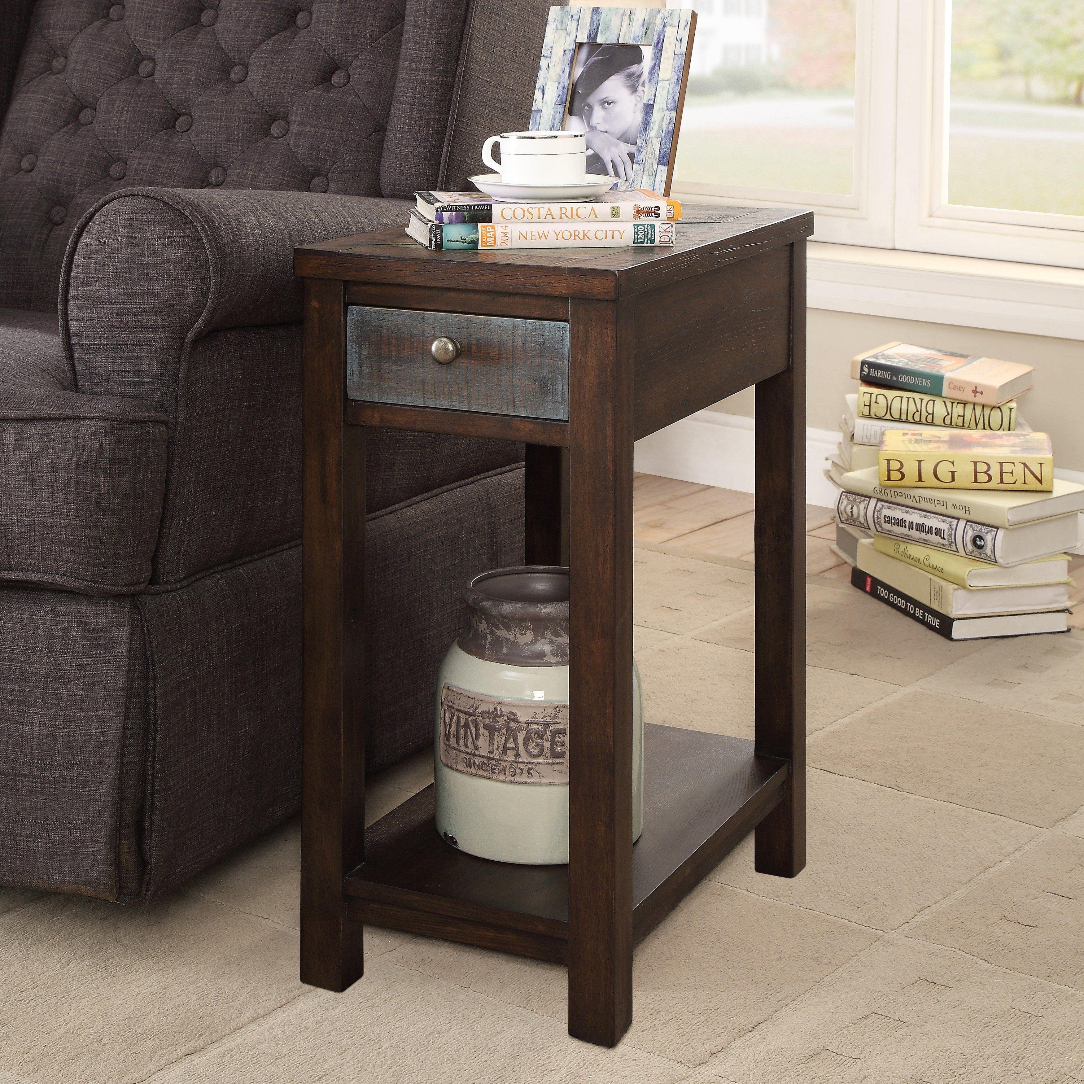 Kendal Rustic Dark Oak Usb Charging Side Table By Foa Dark Oak Multicolor Furniture Of America End Tables With Storage Rustic End Tables Furniture