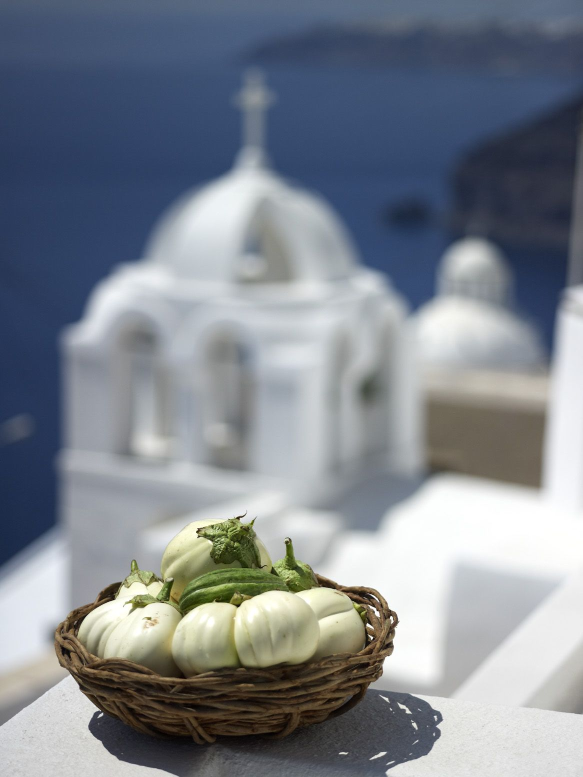white aubergine from Santorini , Greece