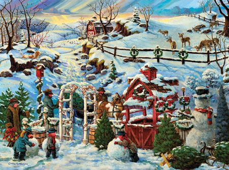 Building Winter Snowmen Christmas jigsaw puzzles and Puzzle art