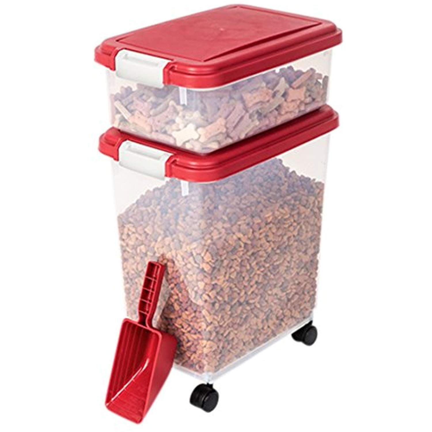 Myriad Pet Solutions 3 Piece Pet Food Storage Bin With Scoop Red
