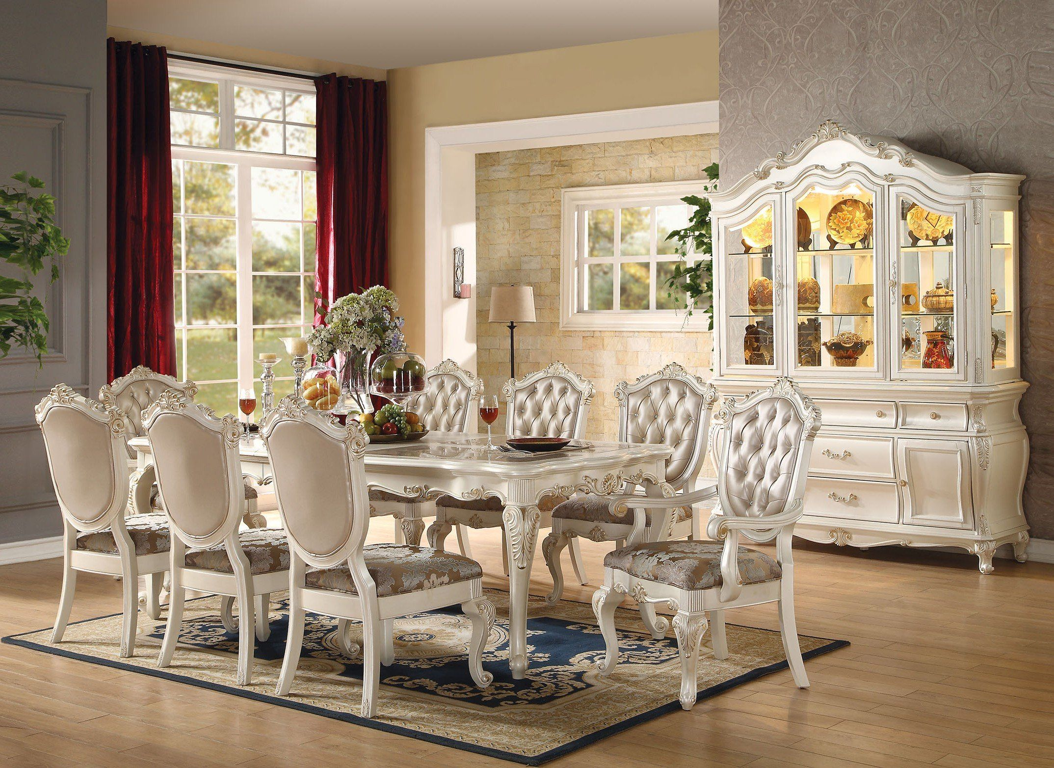 Acme 63540 Chantelle 9Pcs Marble Top Pearl White Dining Table Set ...