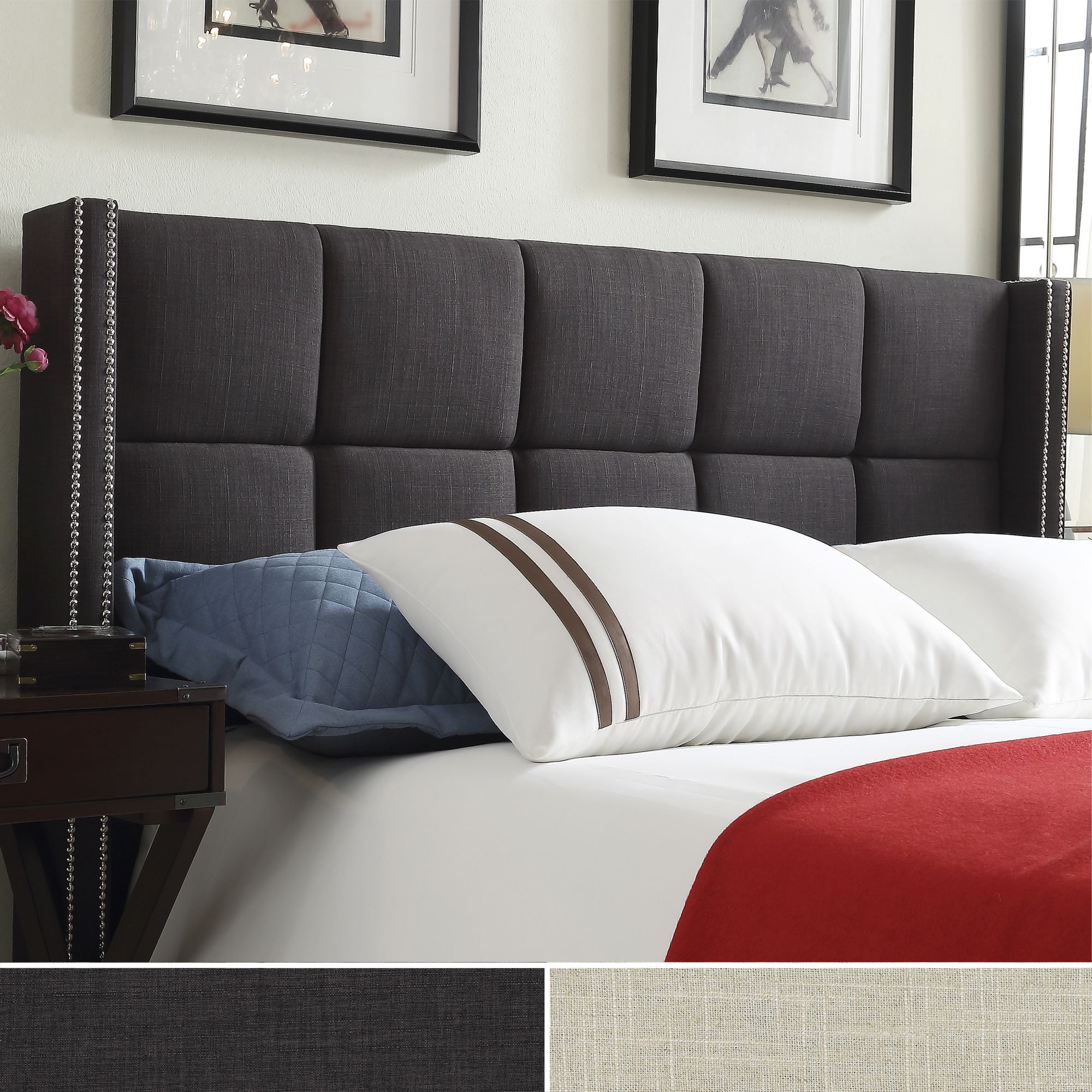 INSPIRE Q Parker Linen Nailhead Wingback Panel Upholstered Queen-sized  Headboard by iNSPIRE Q