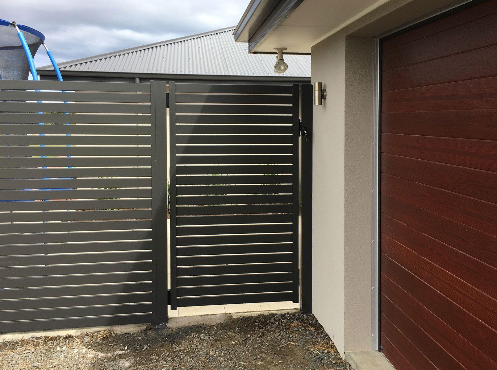 Ezi Slat Fencing Stratco Front Gate Design Gate Design Aluminium Gates