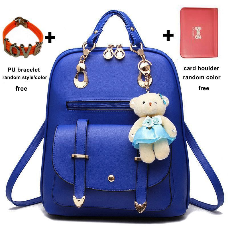 2016 New Fashion Girls Bear Bag Women Ladies Schoolbag PU Leather Backpack Shoulder Bag Rucksack with Free Extra Gifts MB146
