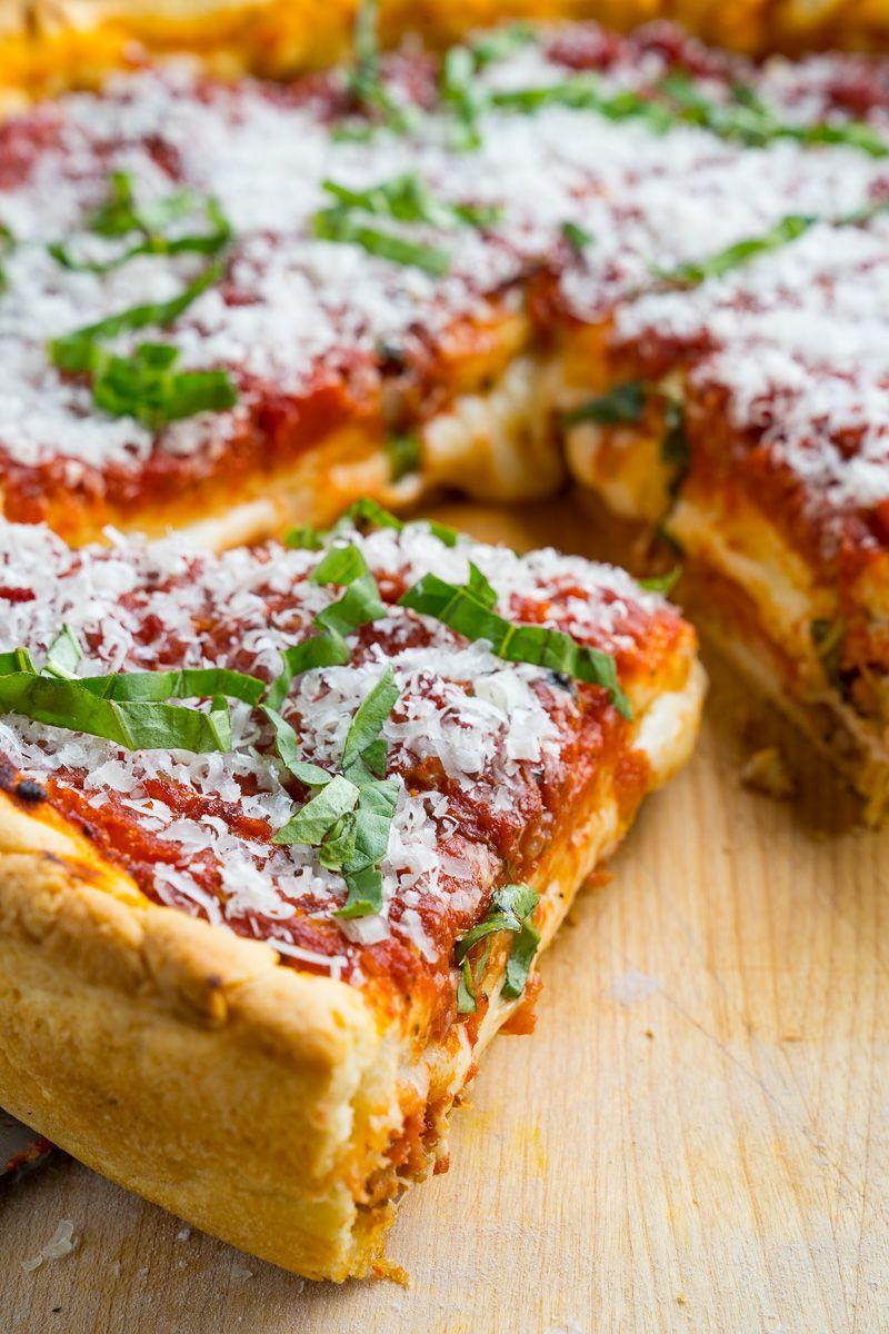 Deep Dish Pizza Recipe Chicago Style Deep Dish Pizza