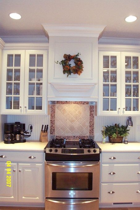 White Cabinets Built In Range Hood Glass Front Doors 30 Inch
