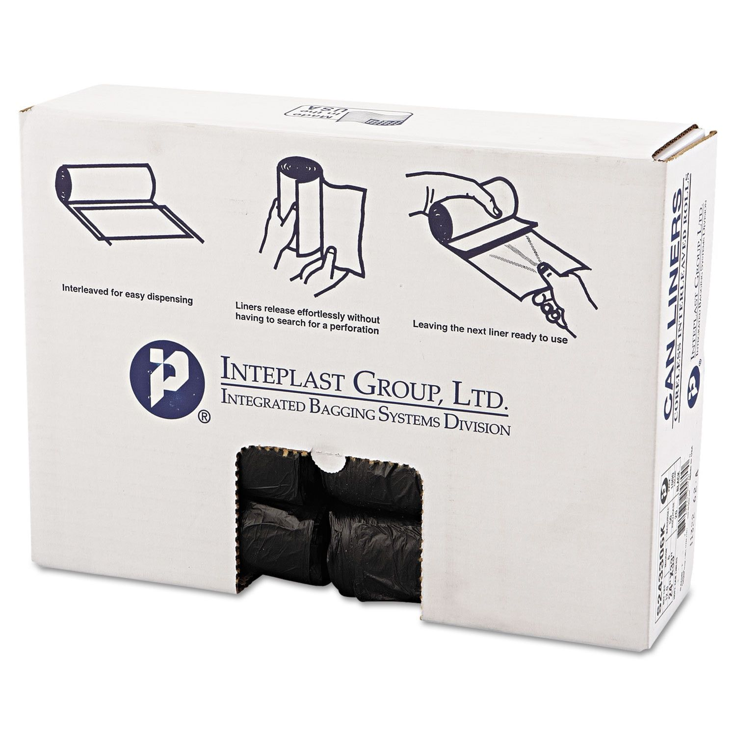 Inteplast Group High-Density Can Liner 24 x 33 16gal 6mic 50/Roll 20 Rolls/Carton