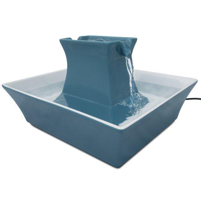 "-""Drinkwell Blue Stoneware Pagoda Fountain"""