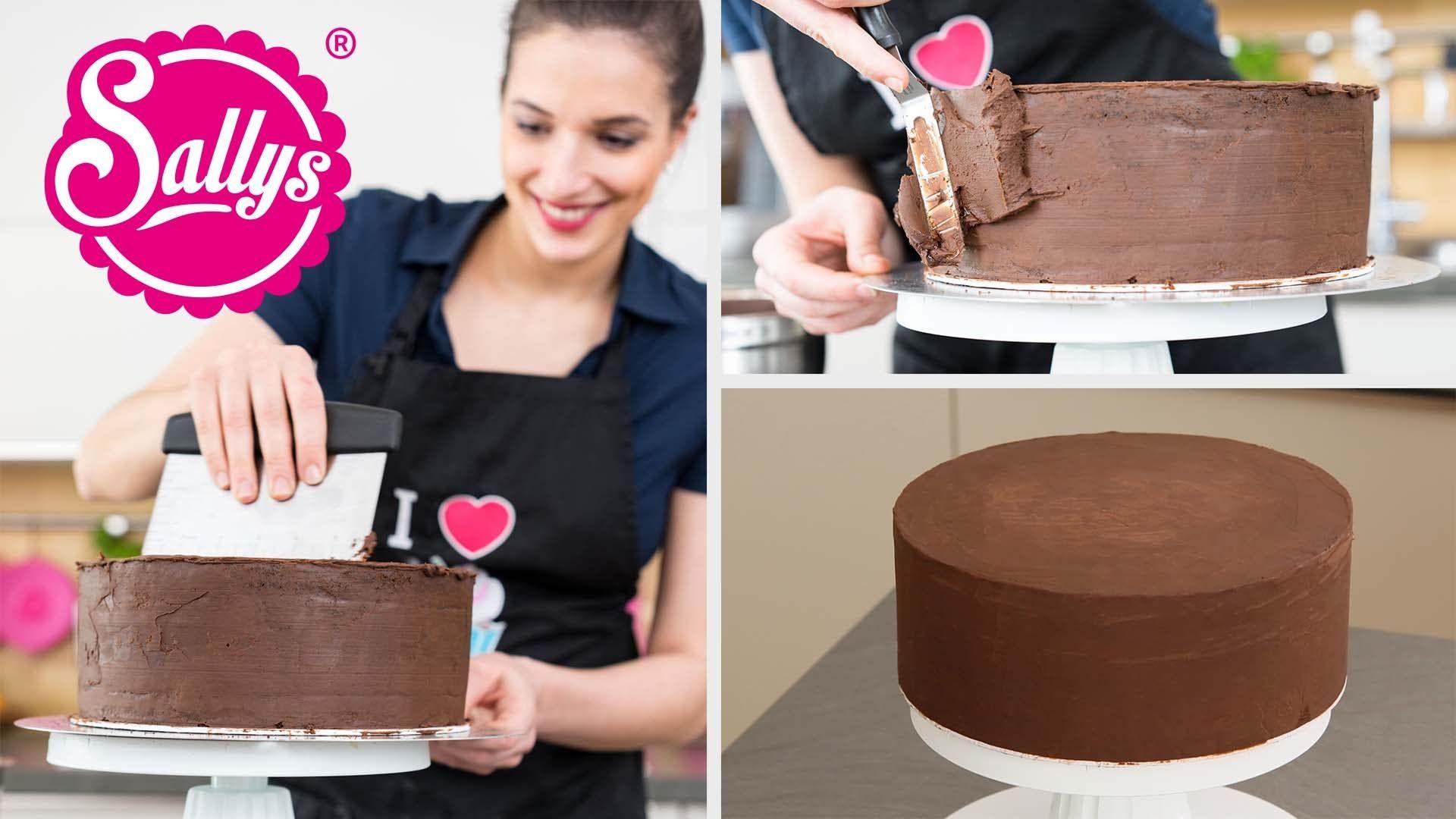 Torten Glatt Streichen Mit Ganache Sallys Basics Motivtorten How To Kuchen Und Torten Motivtorten Kuchen Mit Fondant
