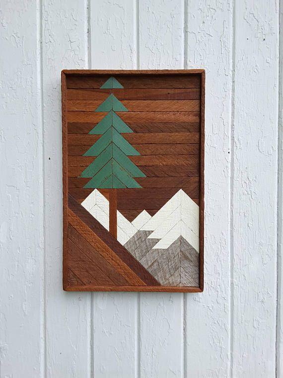 Wood Wall Art Pine Tree And Mountain Scene Gifts Ski Lodge Barn Wood Decor Mountain Wood Wall Art Lath Art