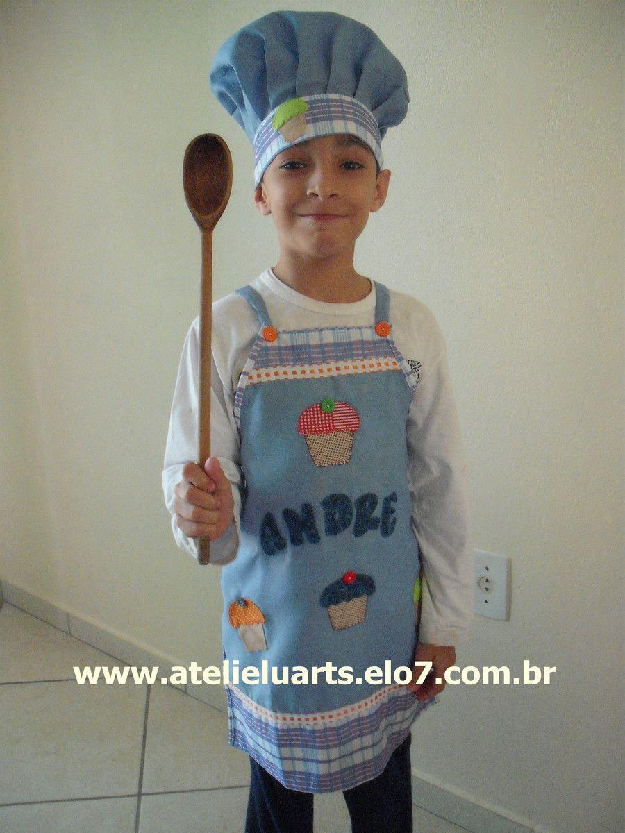 Kit Avental e chapéu mestre cuca infantil