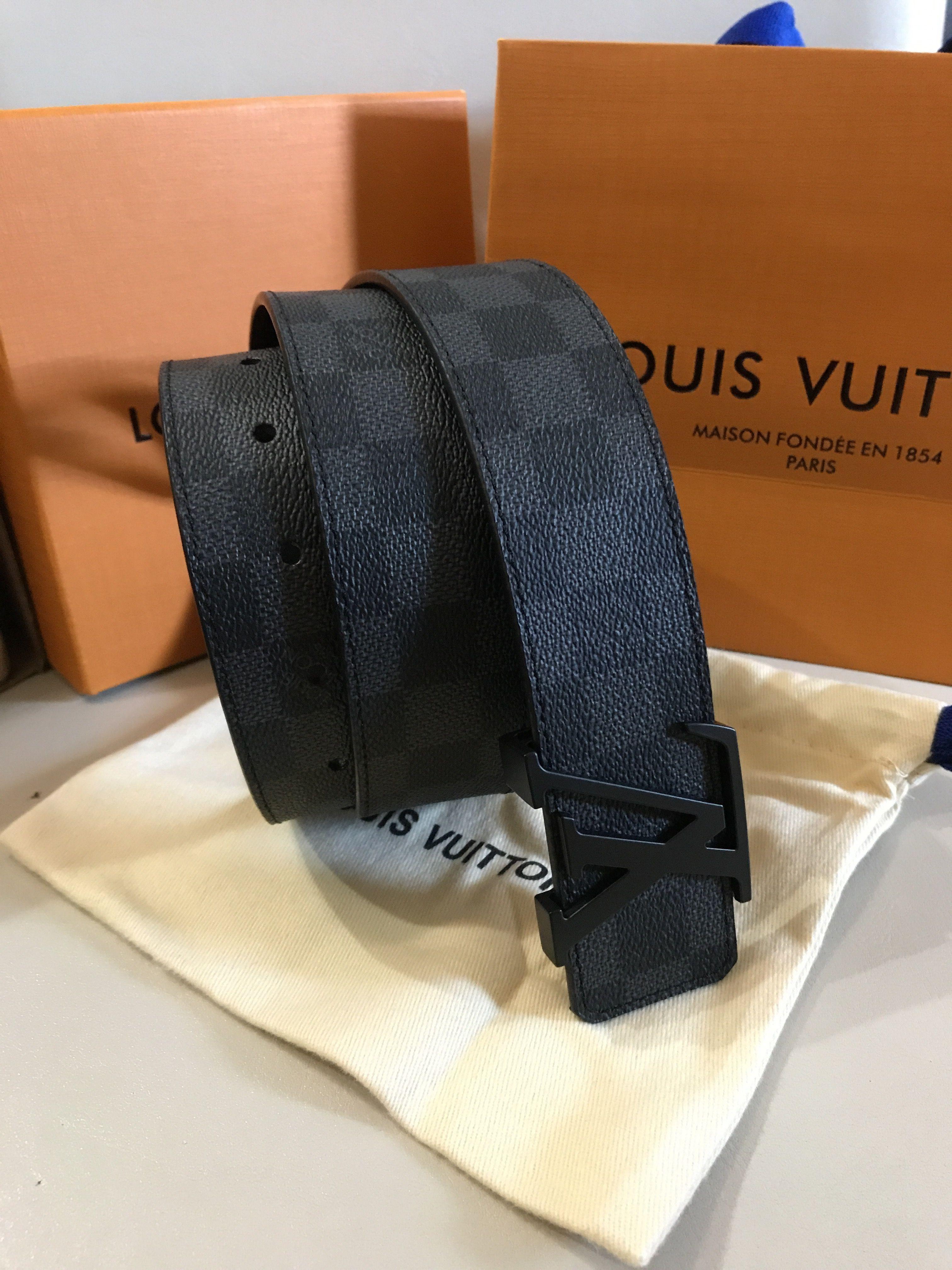 cbb8170e267b Authentic LOUIS VUITTON Damier Graphite belt M9808 Rating AB ( Outside A  Inside B