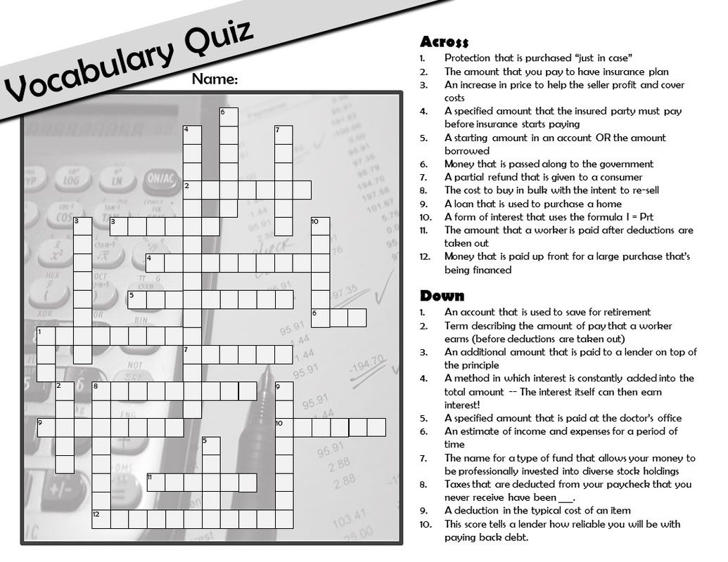 Free Personal Finance Consumer Math Vocabulary Crossword