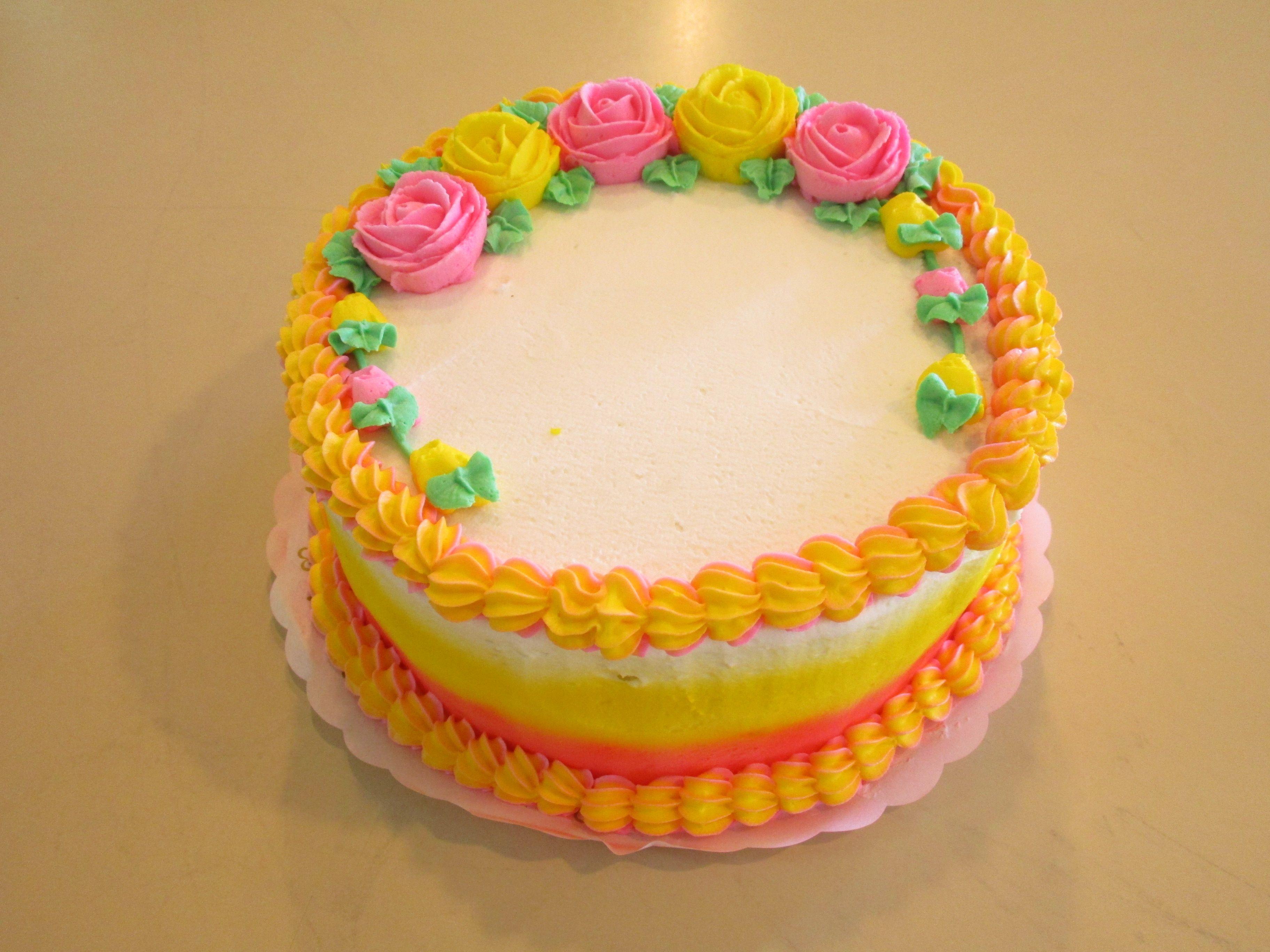 Pink and yellow round cake #wedekingsbakery