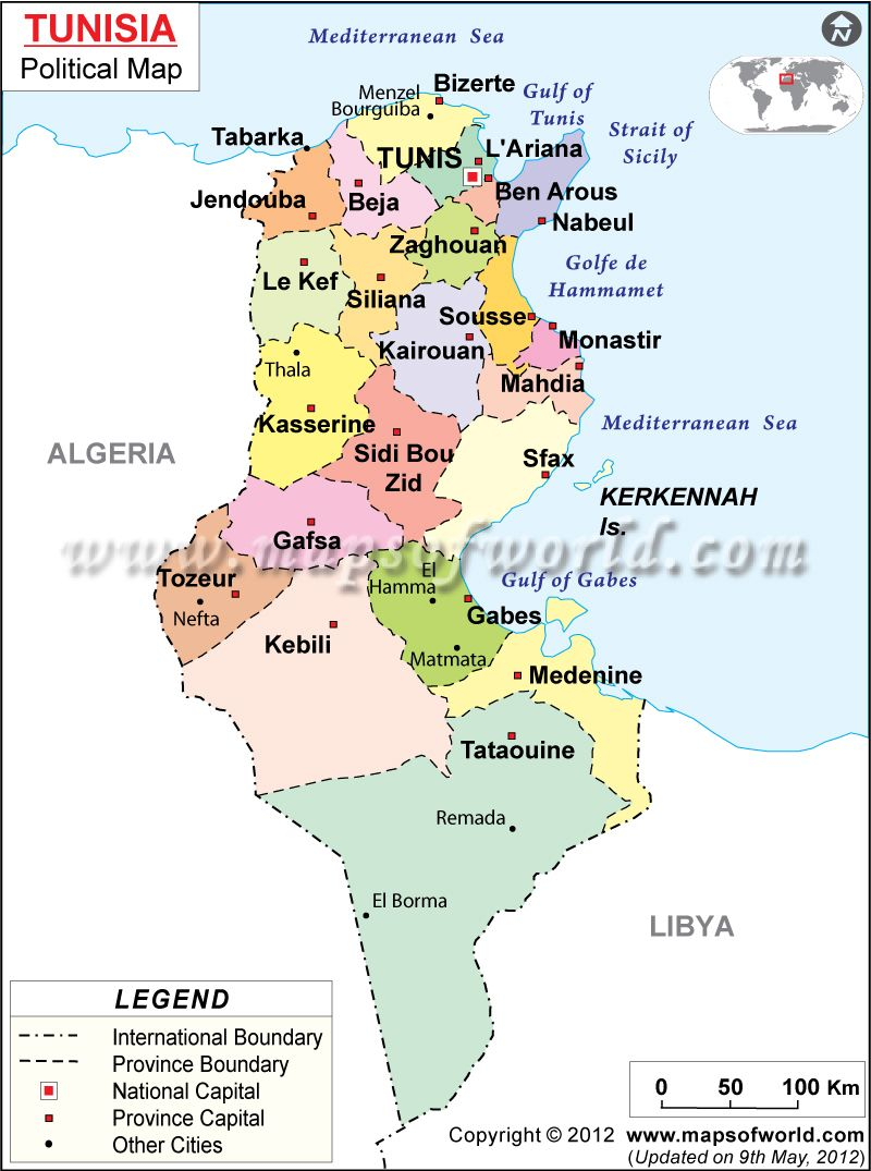 Political Map Of Tunisia Ideas For The House Pinterest Africa - Map of tunisia