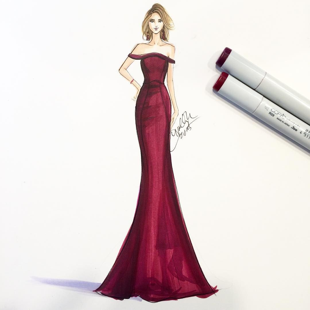 Holly Nichols On Instagram Therealsarahhyland In Zac Posen Instant Favorite Emmy Fashion Design Sketches Fashion Drawing Dresses Dress Design Sketches
