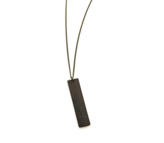 fb65b97d6112a Heavy Duty BLACK BAR Necklace / Mens Necklace Unisex / Thick Black ...