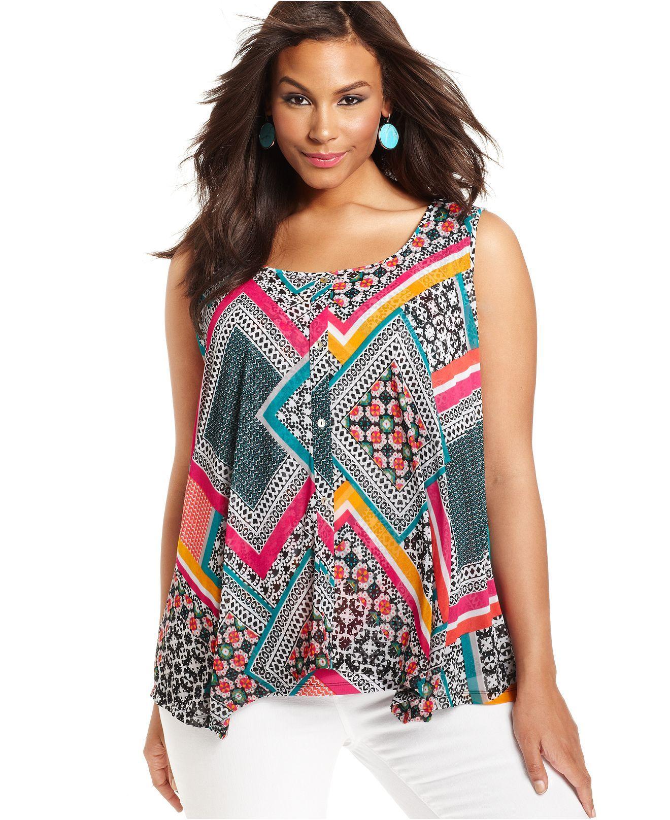 style plus size top, sleeveless printed - style - plus sizes