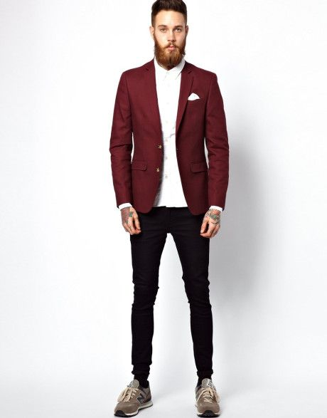 Images of Mens Burgundy Blazer - Reikian