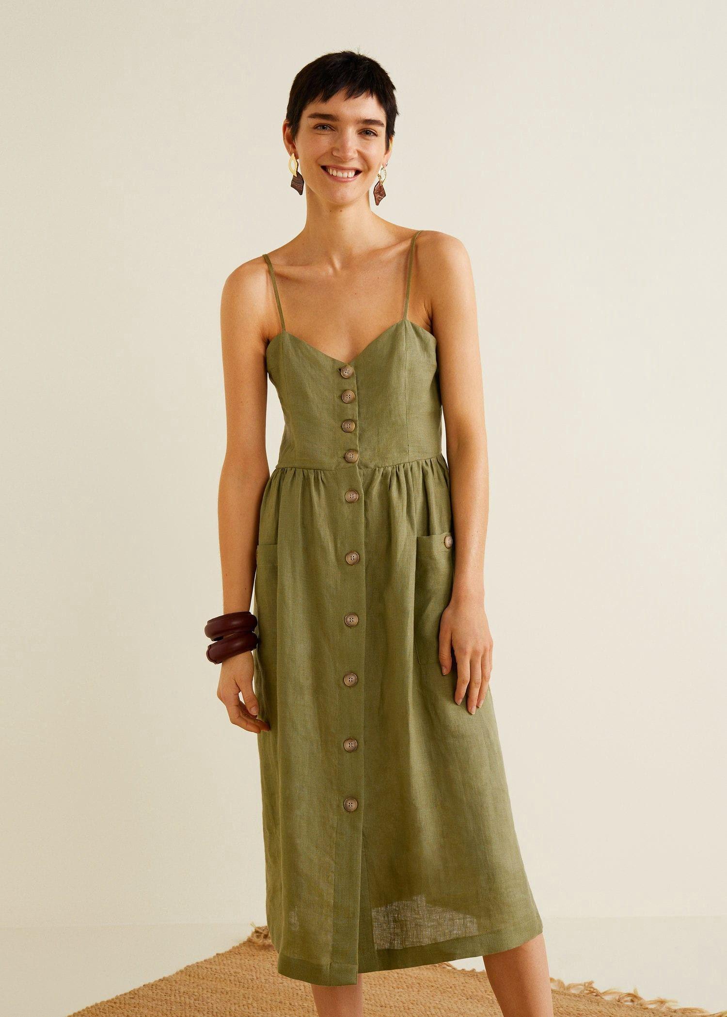 769128cdf6 Mango Pockets Linen-Blend Dress - Beige 8