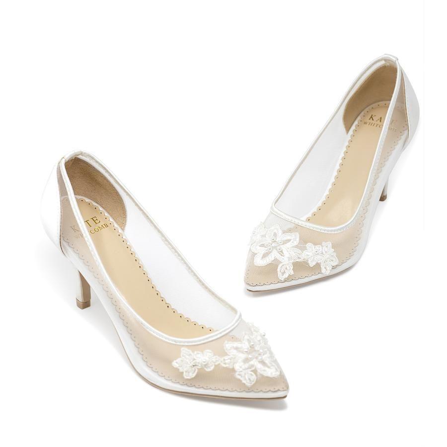 Bridal Shoes Lace Heel - Sofia Ivory