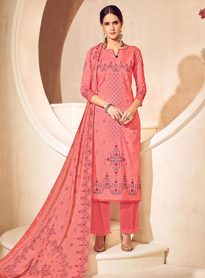 Pink Cotton Kameez With Palazzo 131235 | palazzo suit
