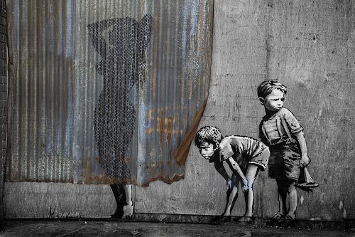 Shower Curtain Banksys Dismaland Display