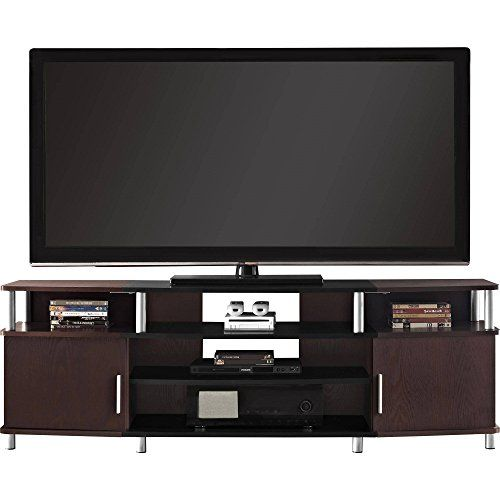 Indoor Carson Xl Black And Cherry Tv Stand Entertainment Center