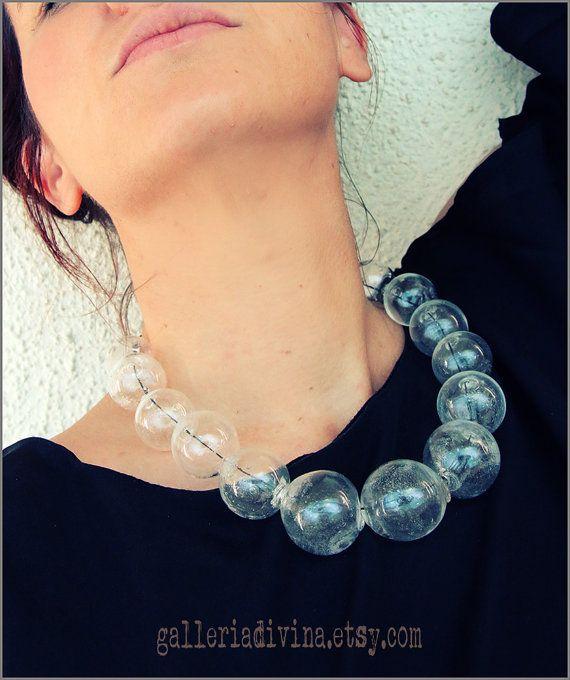 Blown Glass Rubber Necklace Glass Bubbles Spheres Etsy Glass Necklace Bubble Necklaces Beaded Statement Necklace