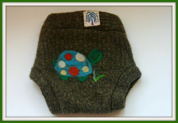 Size Medium Recycled Sweater Wool Diaper Cover by WillowWithLove, $15.00