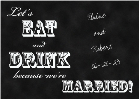 Love This At Home Post Destination Wedding Reception Invitation Let S Eat And