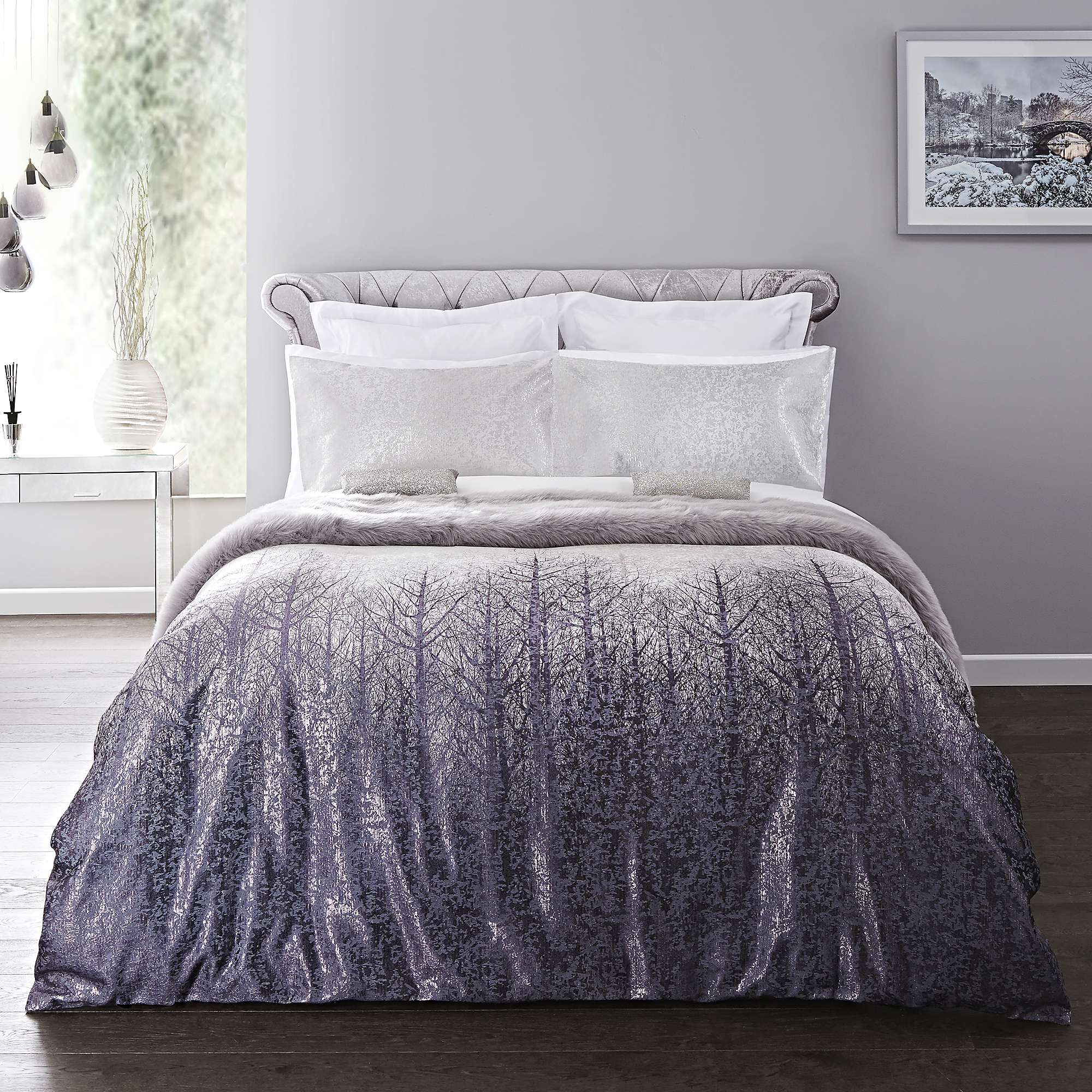 5a Fifth Avenue Silver Winter Trees Duvet Cover And Pillowcase Set