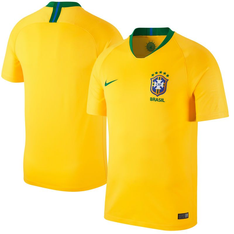 2e82c4872 Brazil National Team Nike 2018 Home Replica Stadium Blank Jersey –  Gold/Green
