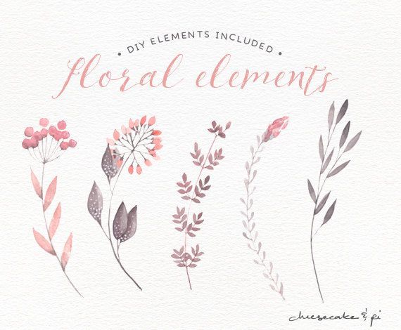 Watercolor Floral Border Hand Painted Par LisaGlanzGraphics