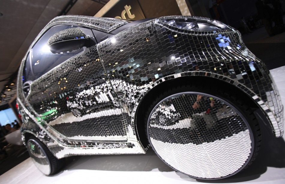 A Discoball Mirror Covered Electric Drive Smart Car Is Seen On - Car show display mirrors