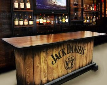 Home bar custom hand built rustic whiskey pub man cave for Diy bar for man cave