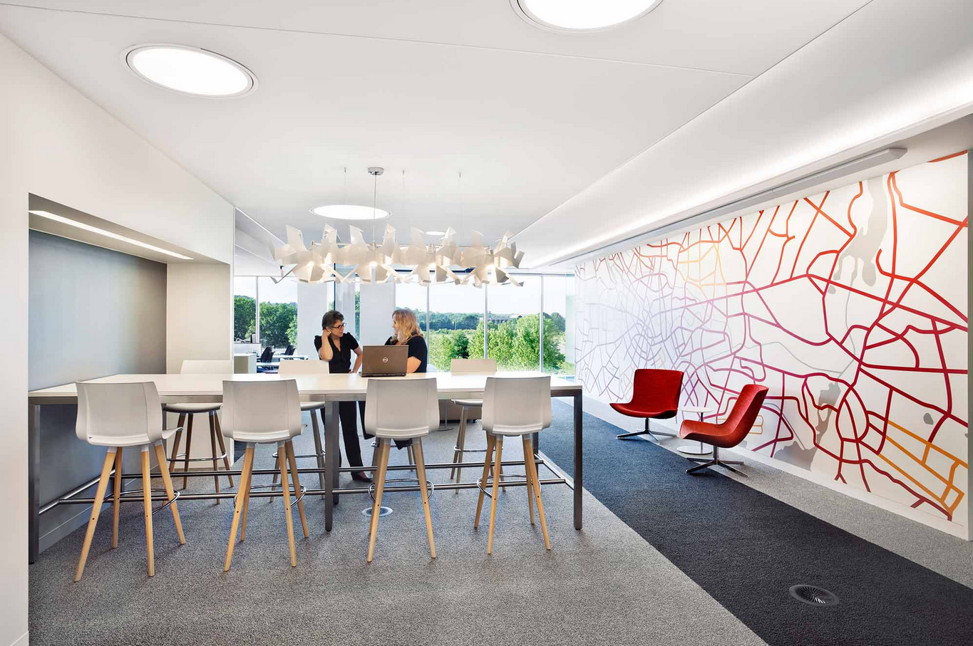 Modern Office Relax Discuss Zone With Creative Abstract Wall