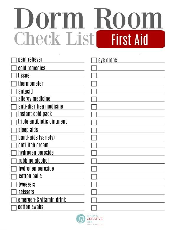 Dorm Room Checklist Packing Lists