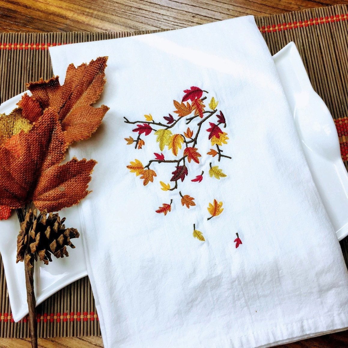 Autumn Branches Theme Embroidery Kitchen Towel, Flour Sack Towel, Saying Tea Towel, Farm House Decor, Kitchen Decor, Made in Dallas, Texas #pictureplacemeant